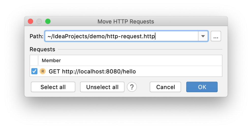Move HTTP Requests dialog