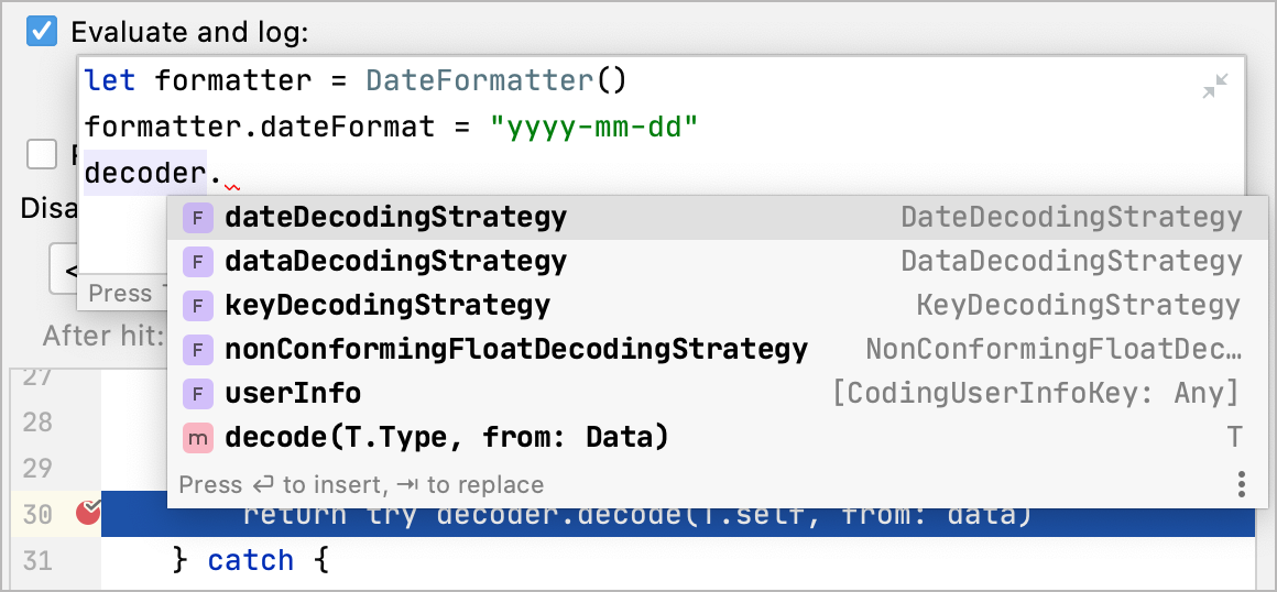 Autocompletion in Debugger