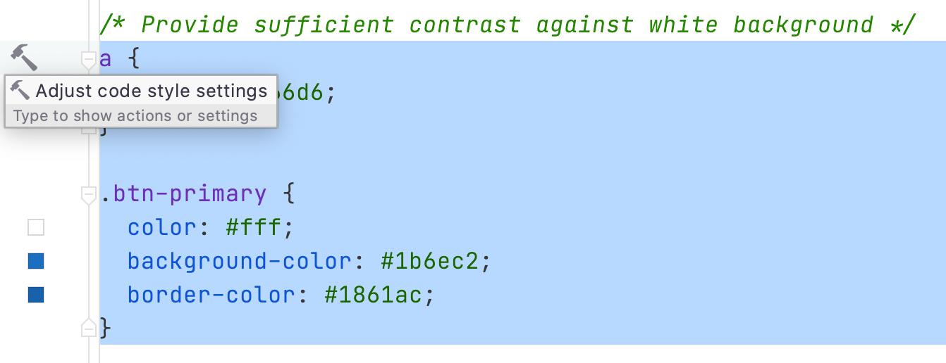 adjust code styling css