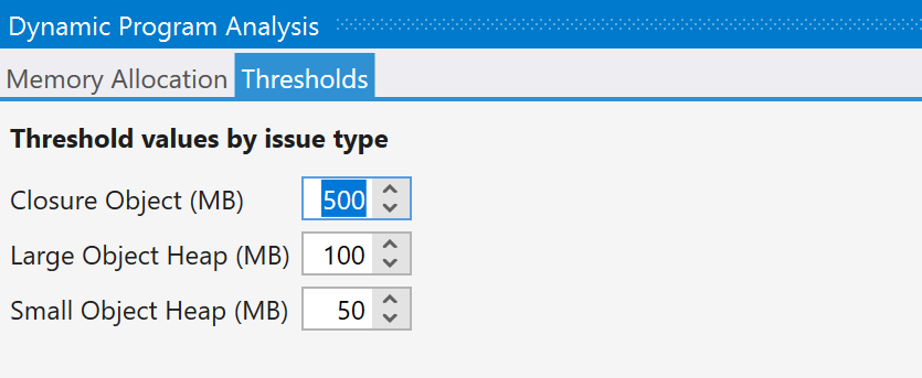 Dynamic Program Analysis in ReSharper. Thresholds