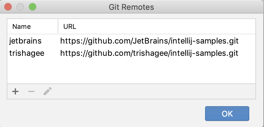 IntelliJ manage and rename remotes