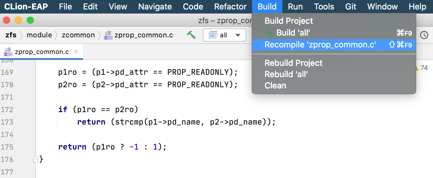 Recompile action