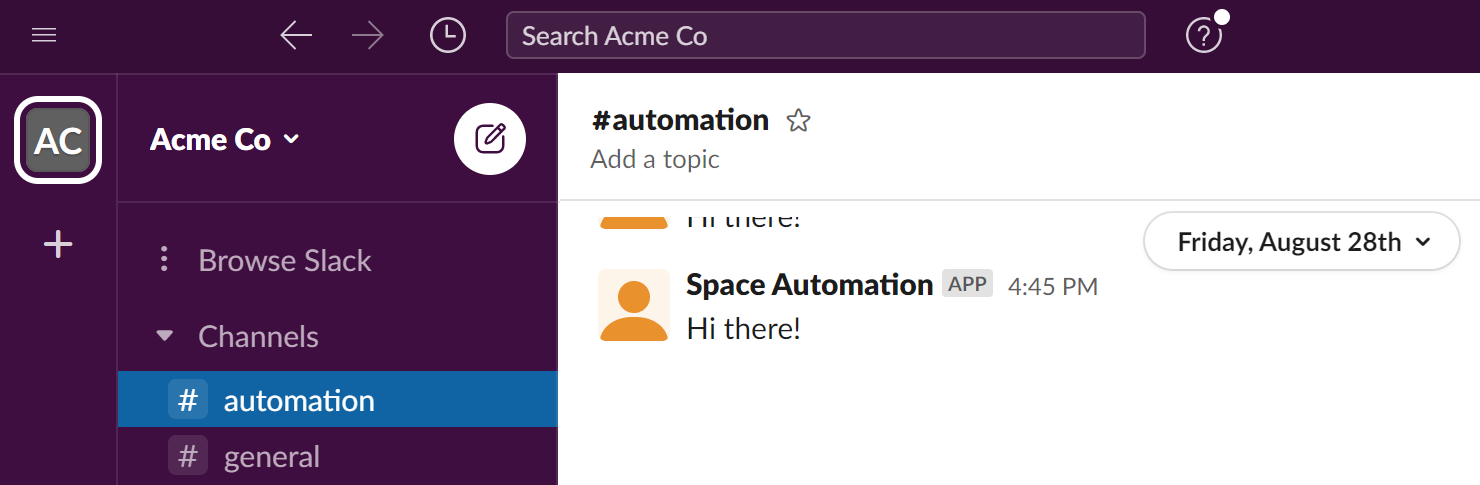 Message sent from Automation to Slack