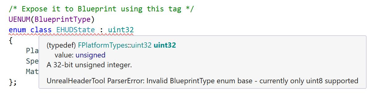 UnrealHeaderTool: Invalid BlueprintType enum base