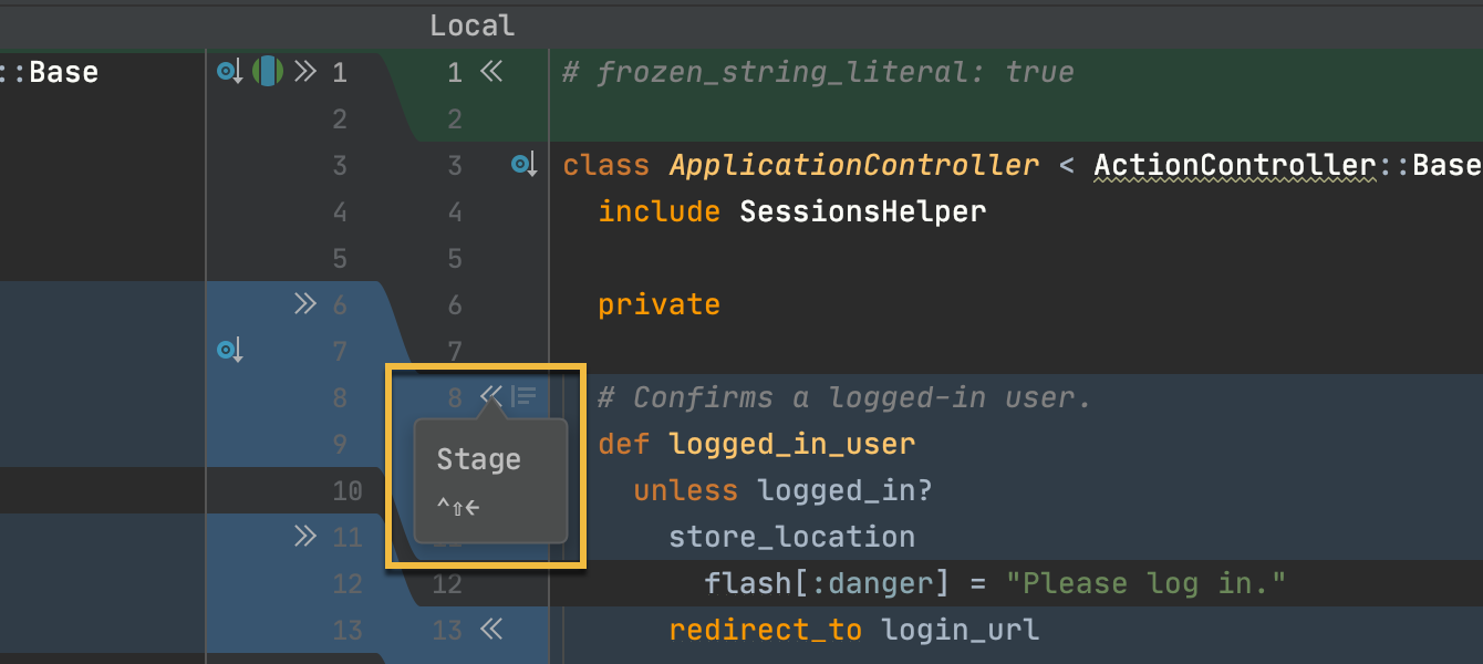 Add files to staging in Show Diff