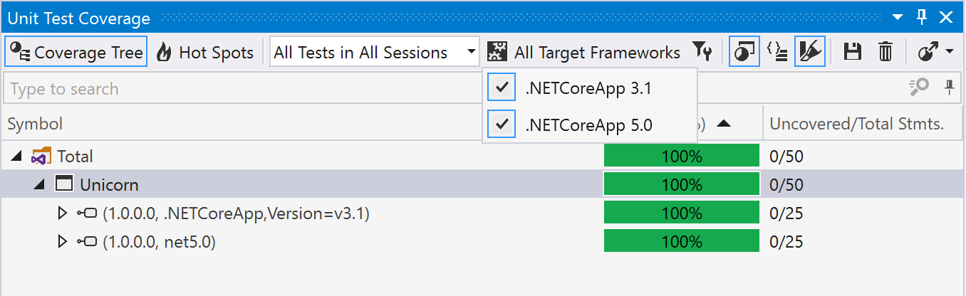 target framework options in unit test coverage tool window