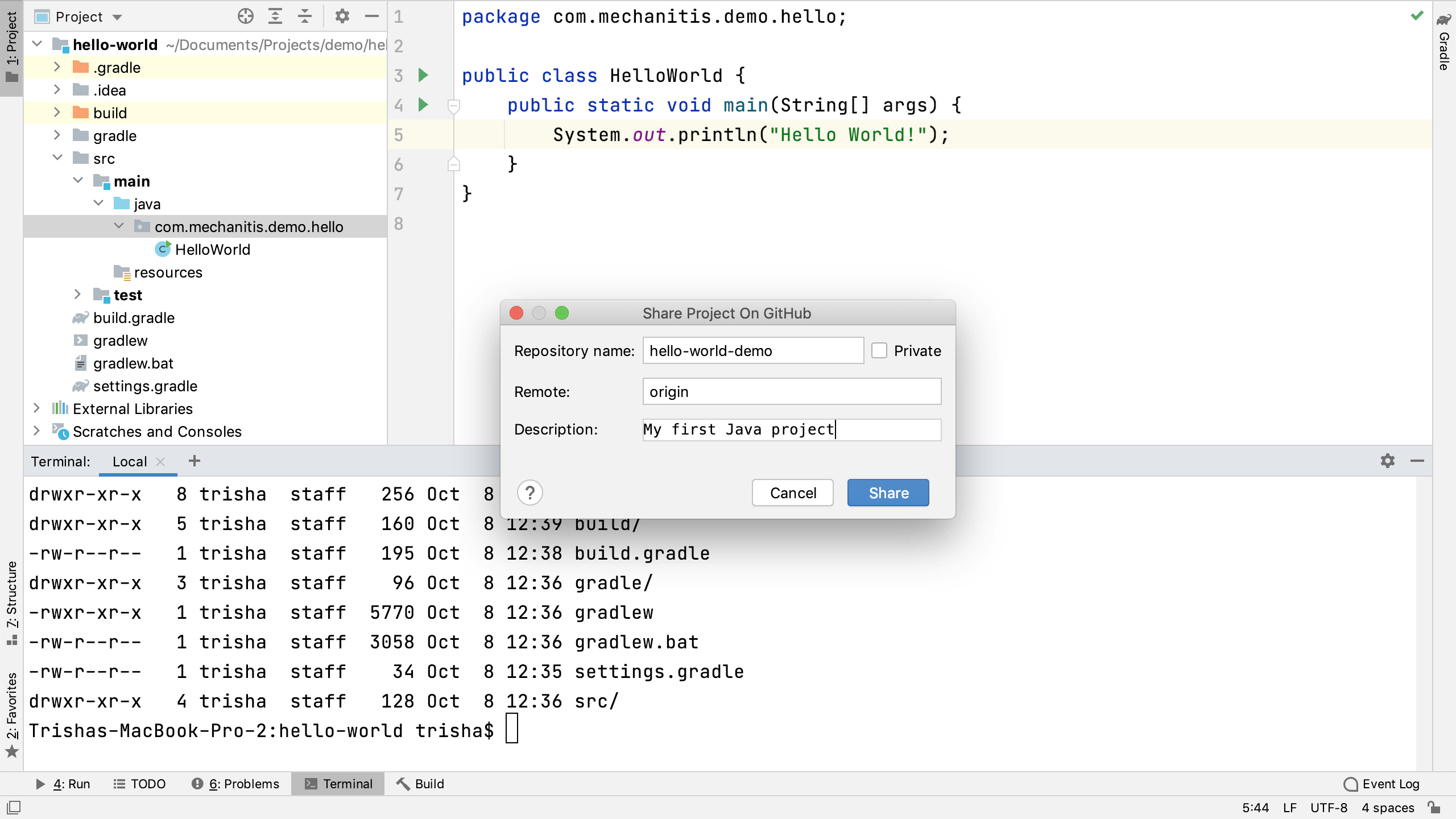 Share Project on GitHub Window