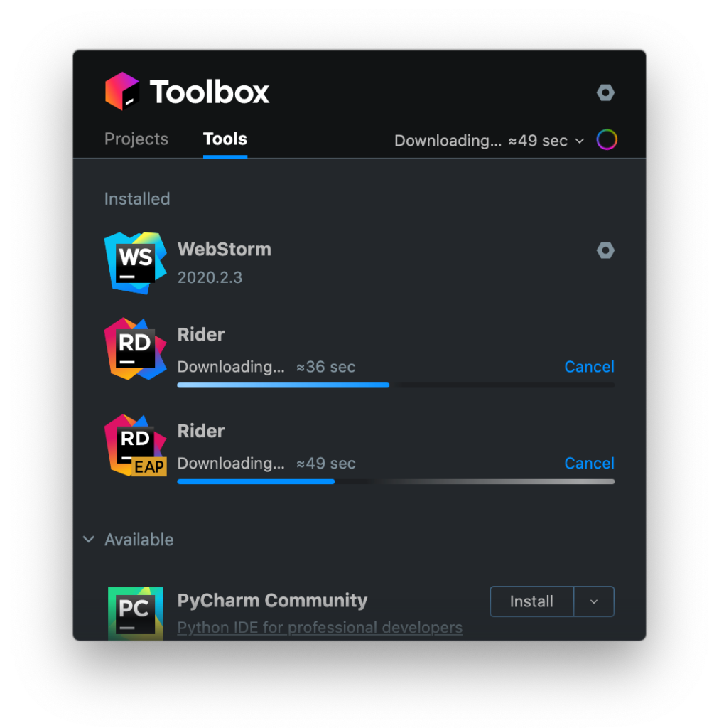 New progress bars in the Toolbox App