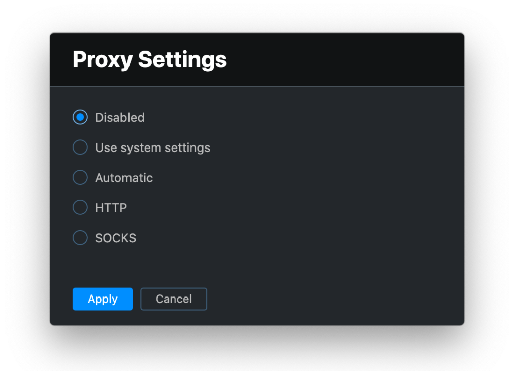 Proxy Settings in the Toolbox App
