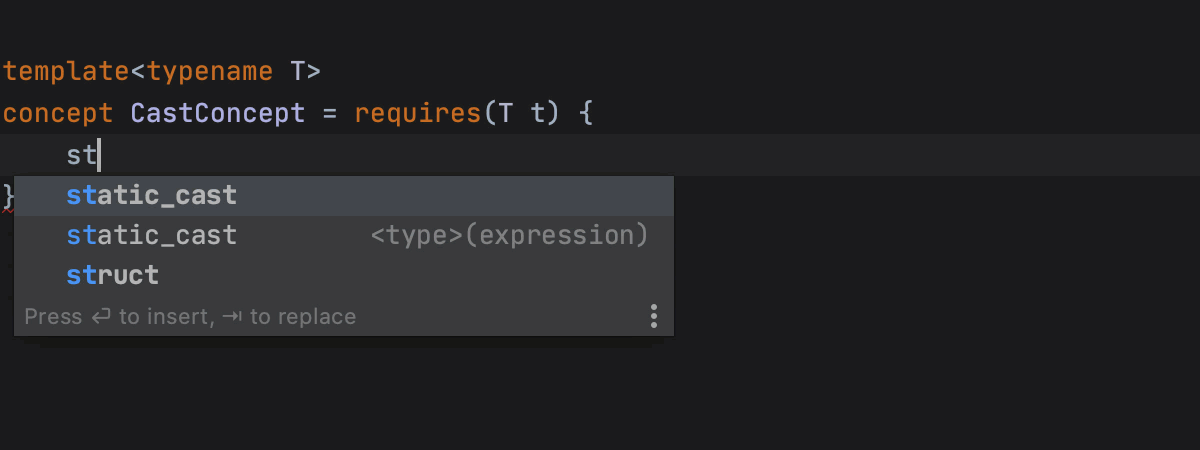 Clang snippets