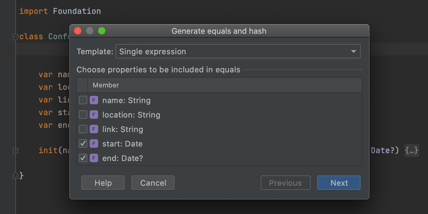 Equals and hash settings