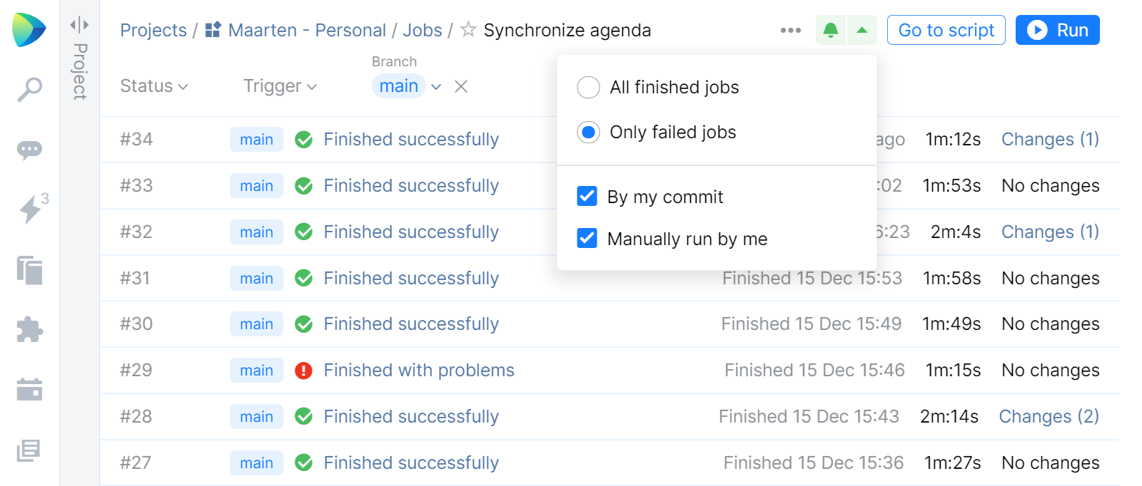 Subscribe to Spae Automation job status notifications