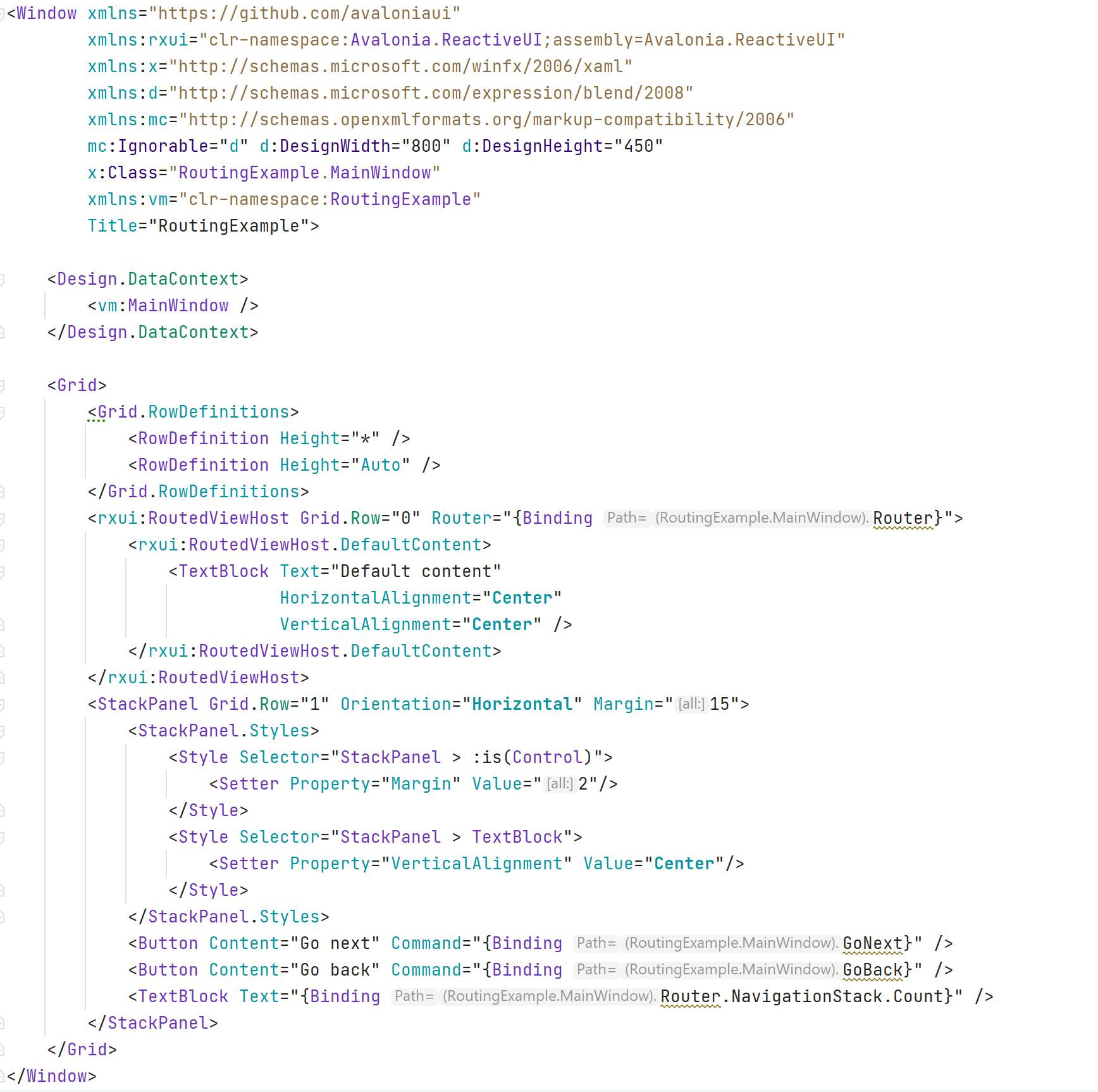 xaml seen in editor window with inlay hints