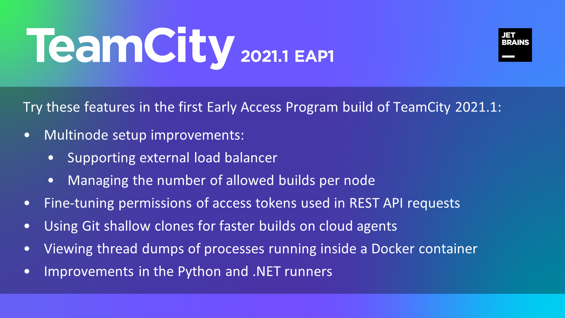 TeamCity 2021.1 EAP is open