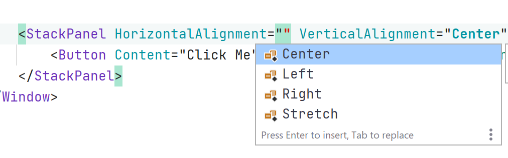 xaml code completion inside of editor