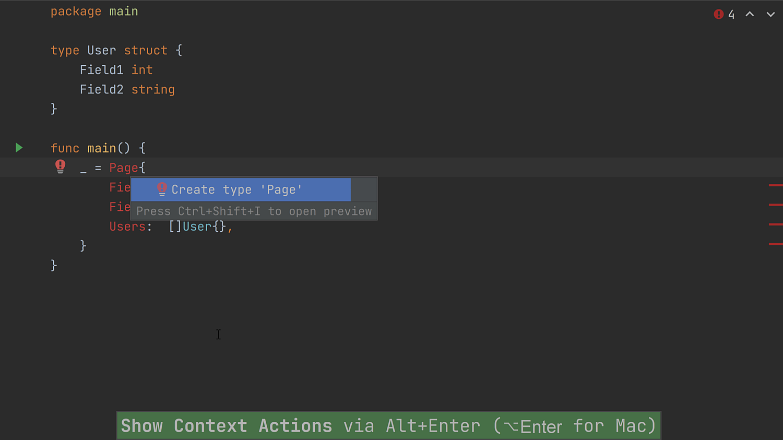 Create Type Quickfix