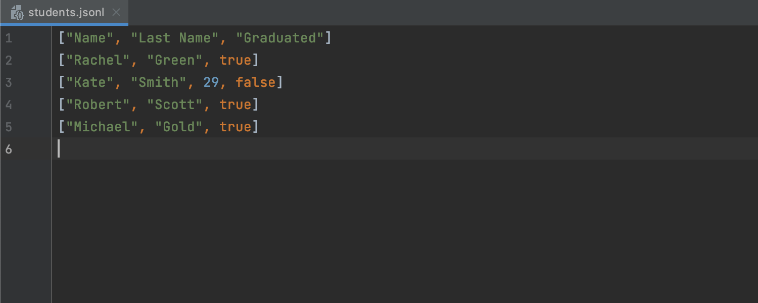 JSON Lines Support