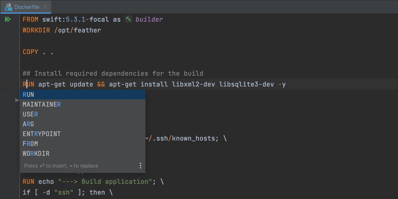 Docker code assistance