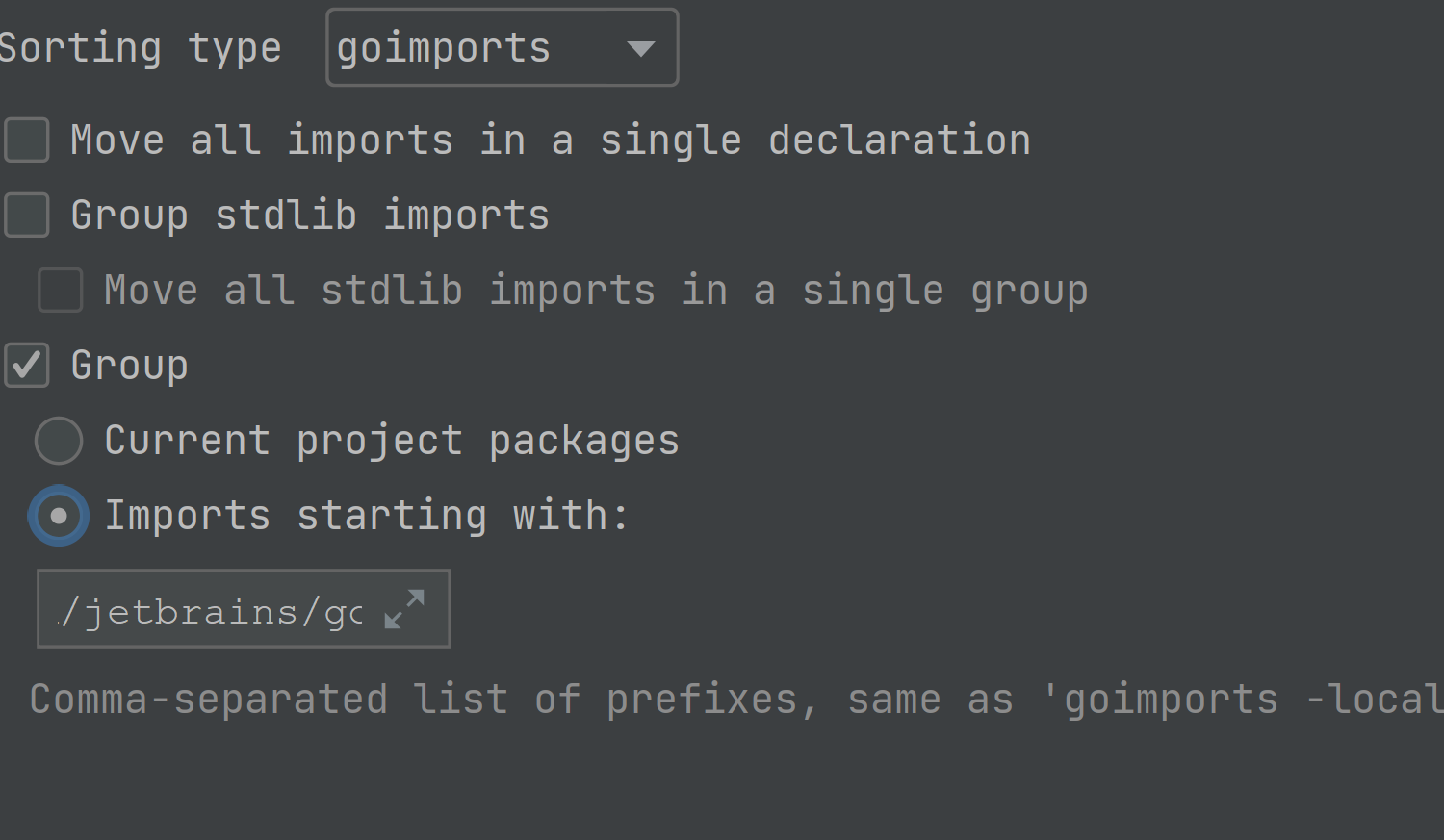 Configure goimports -local support in the IDE