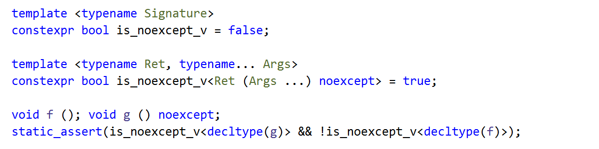 noexcept as a part of the function type