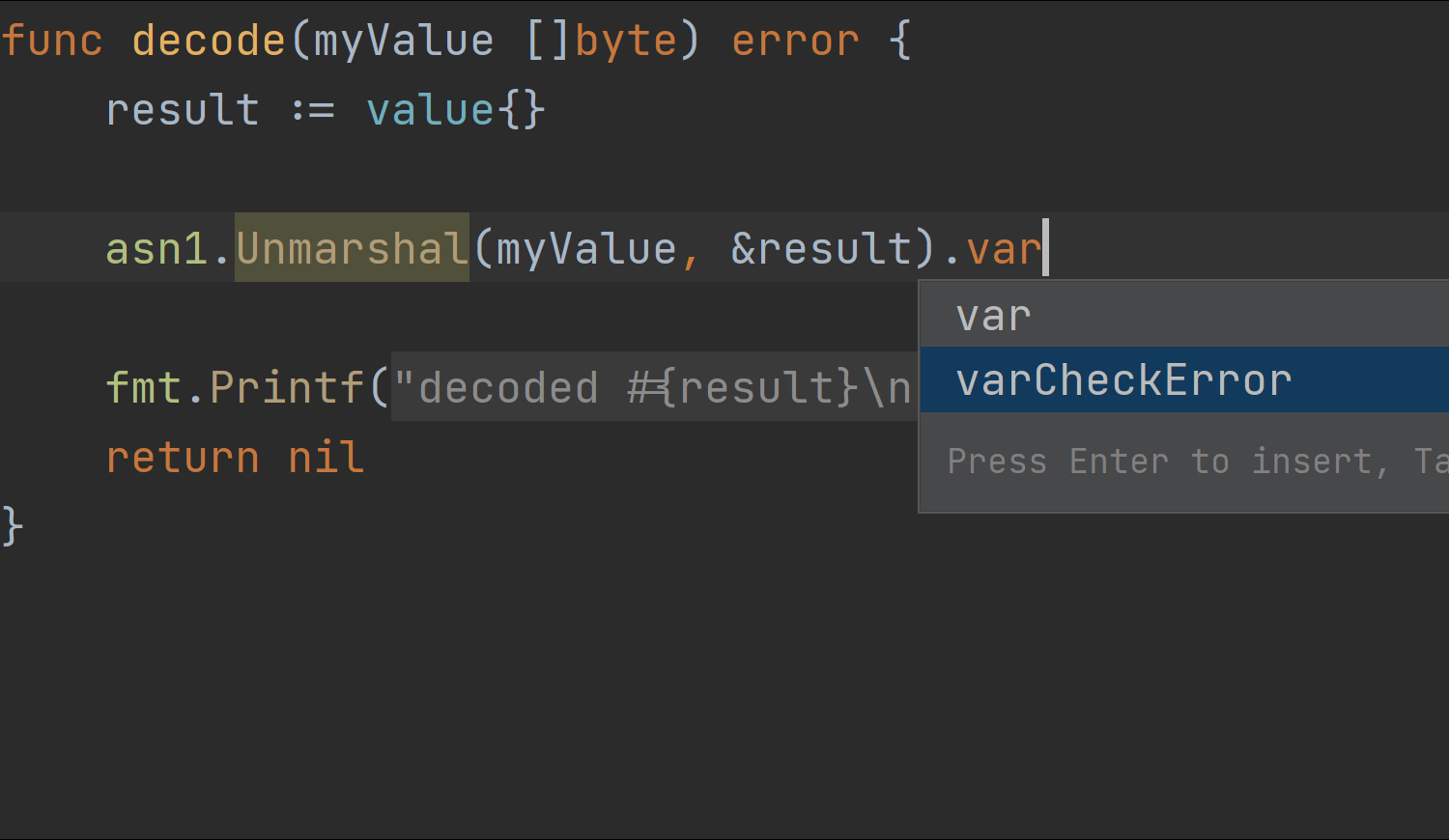 varCheckError postfix completion