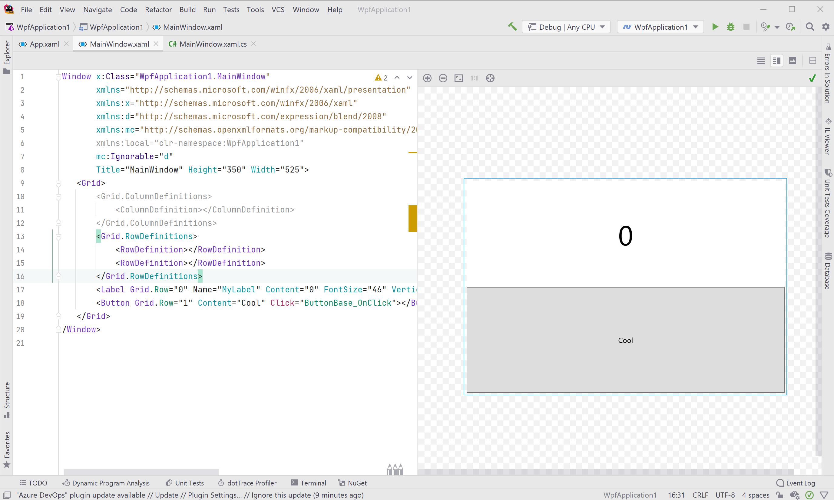 Reworked UI for XAML workflows in JetBrains Rider