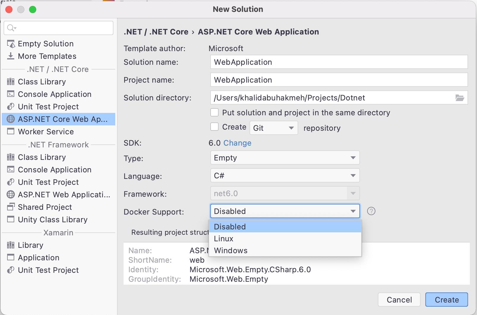 Rider New Solution Dialog Docker Support dropdown