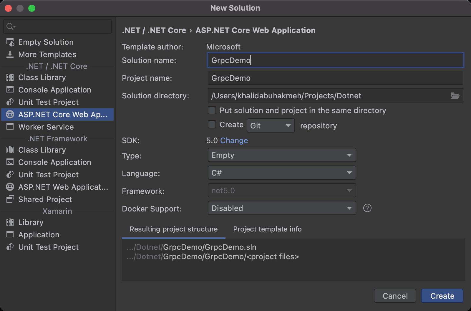 ASP.NET Core empty web application template in JetBrains Rider