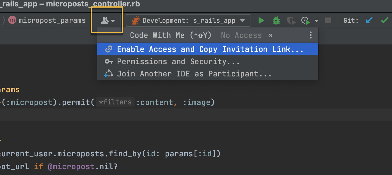 Invide others to Code With Me