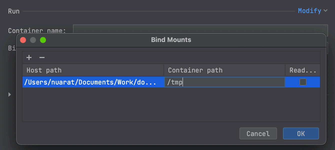 Environment variables and macros for Docker mounts
