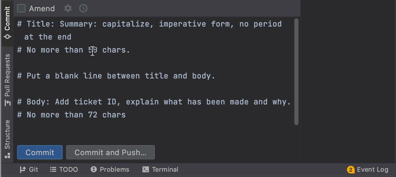 Git commit template usage