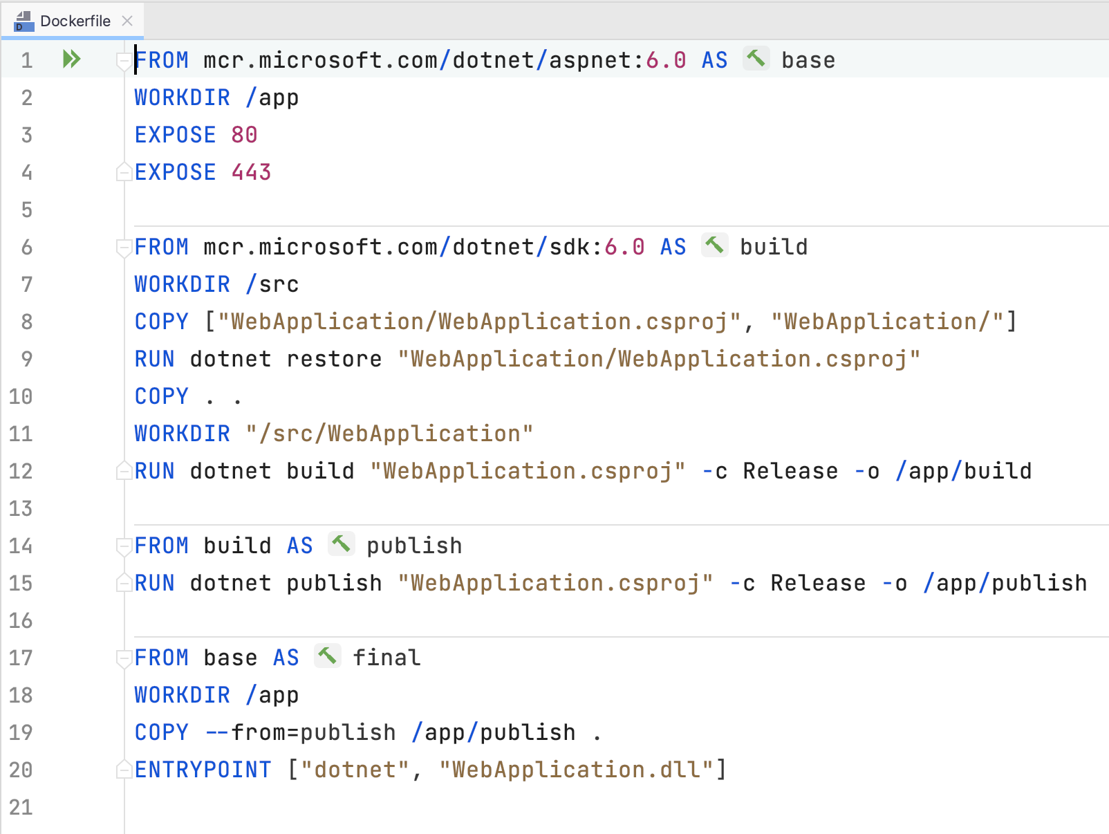Dockerfile in editor window