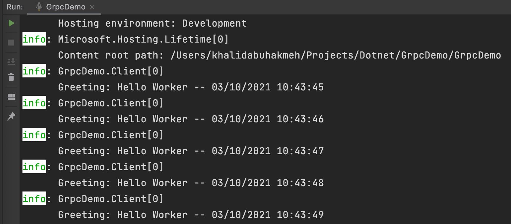 JetBrains Rider console output