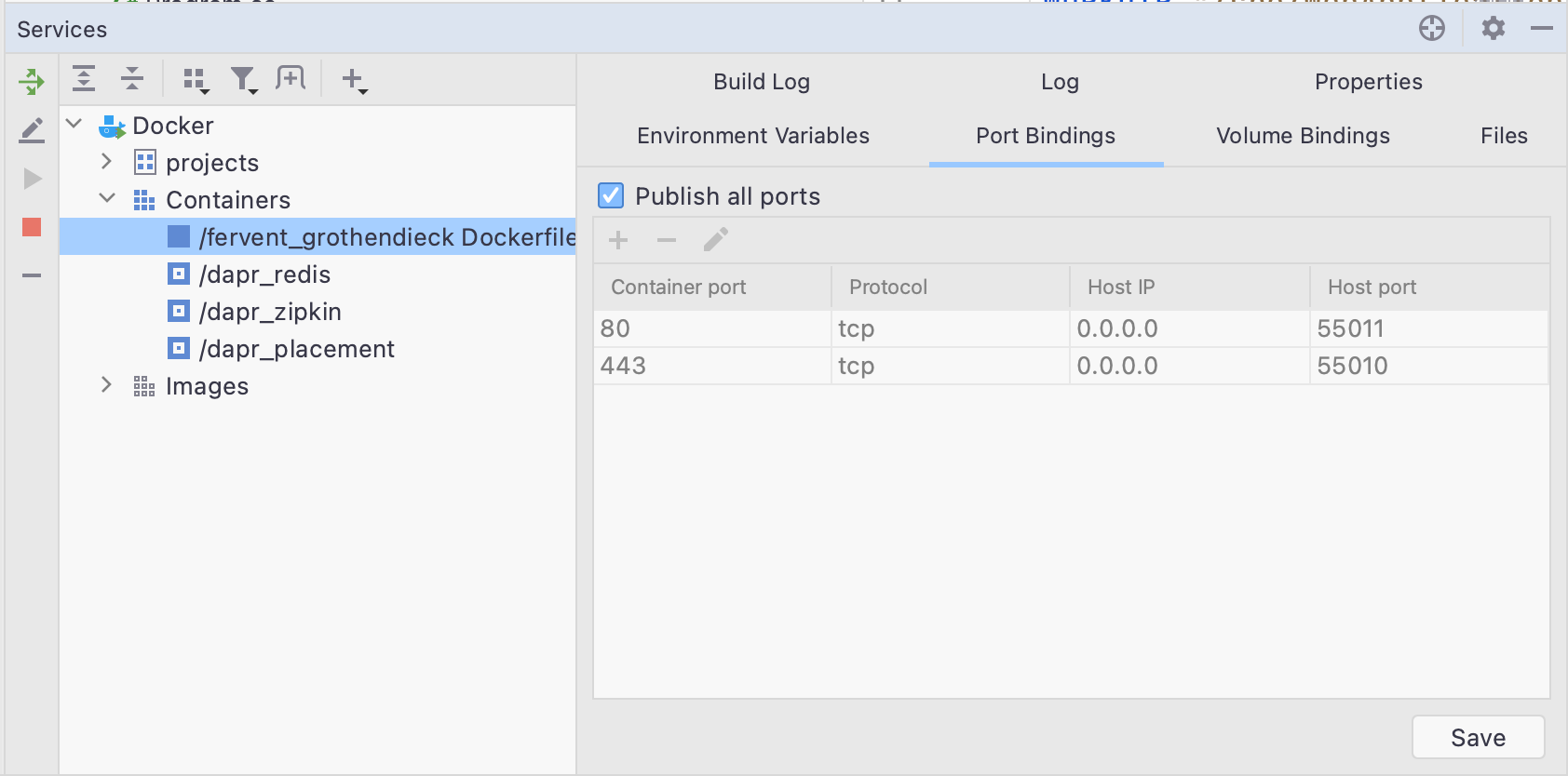 Docker publish all ports in Services window