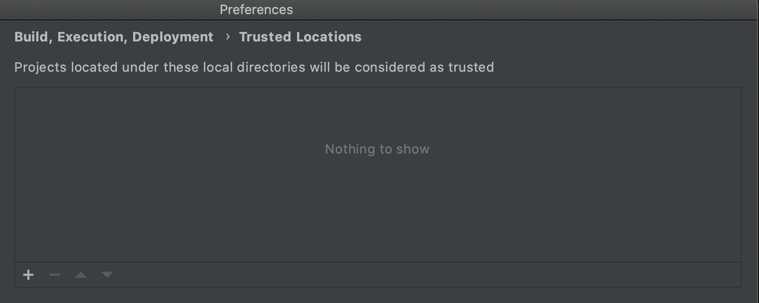 Trusted locations settings