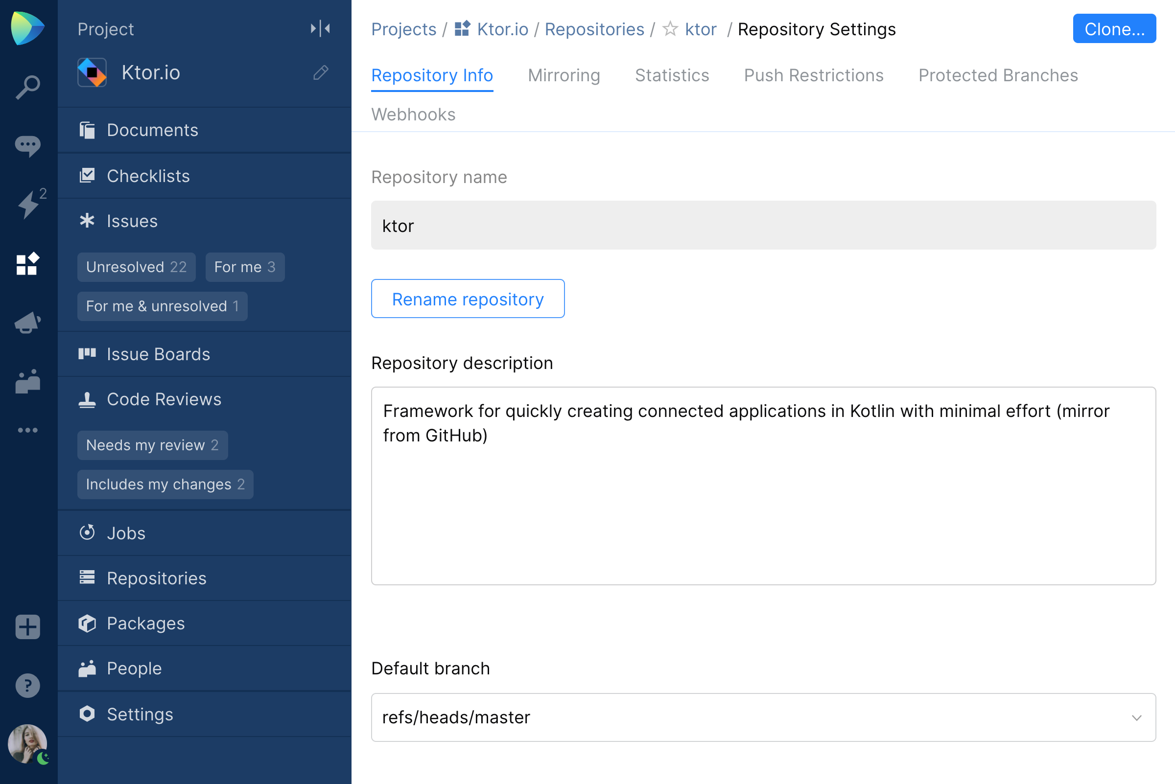Git repository visibility in Space