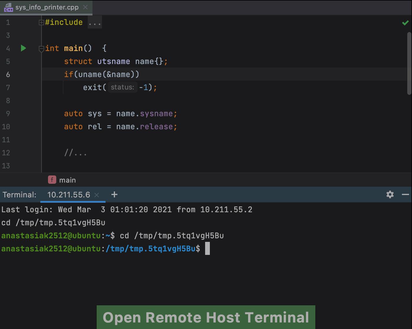 Open Remote Host