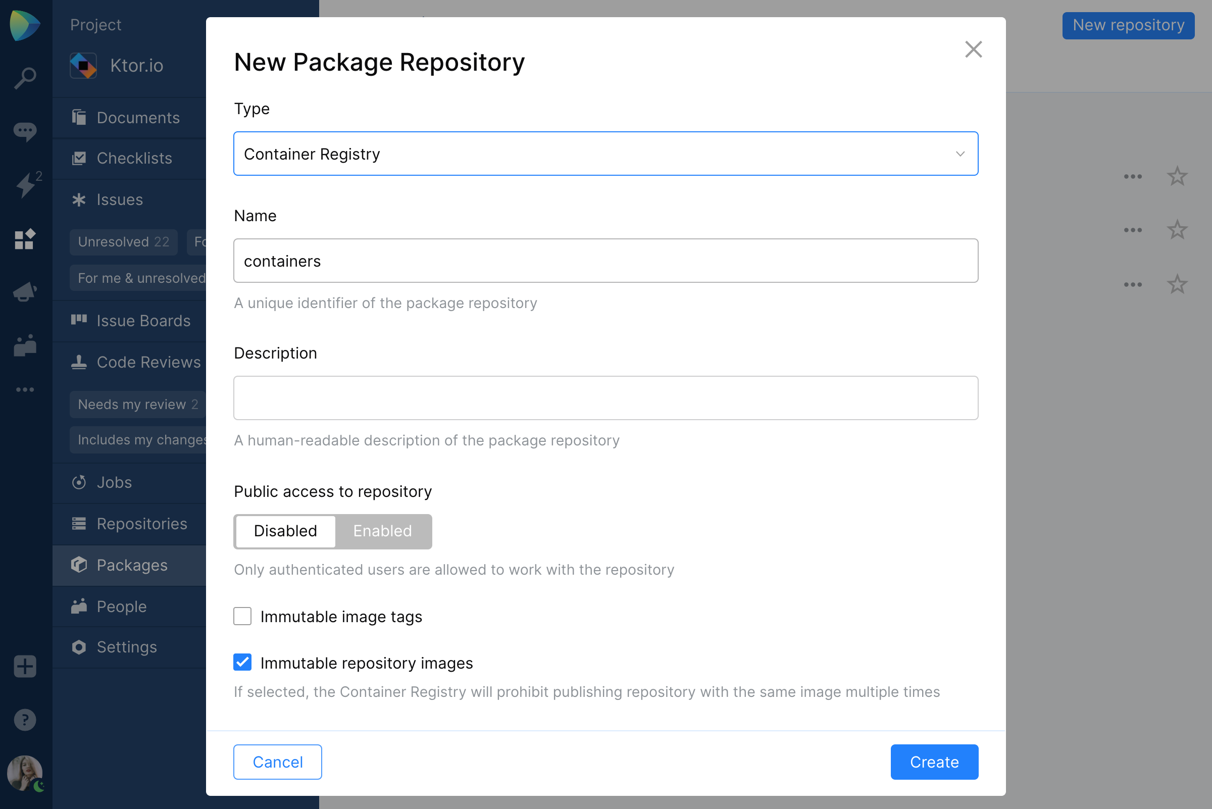 Package repository visibility in Space