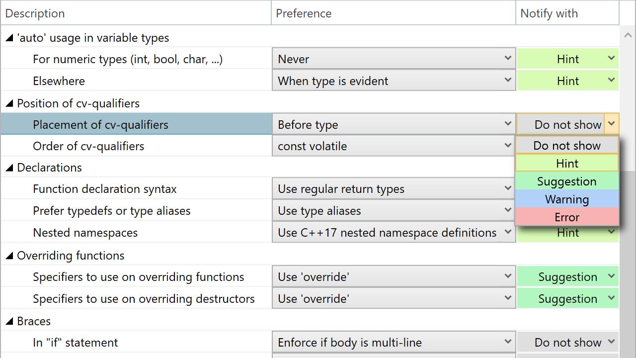 ReSharper C++: Syntax Style