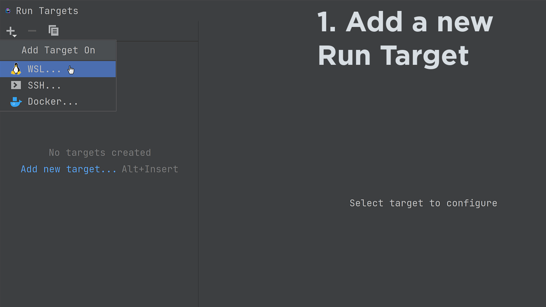 Create WSL Run Target
