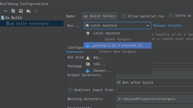 Use a Run Target in a Run Configuration