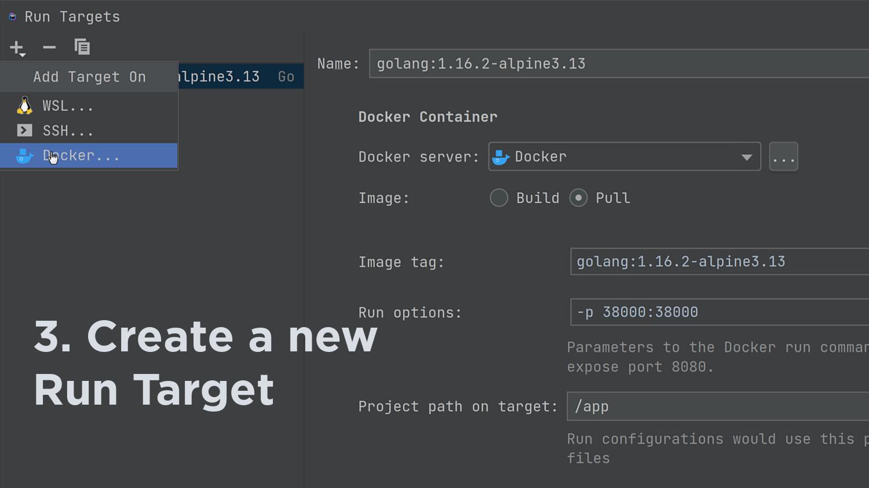 Create a Docker Build Run Target type