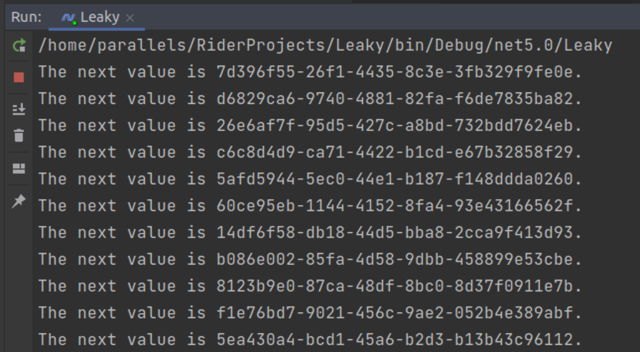 Running the leaky application that shows guids in the Rider console output.