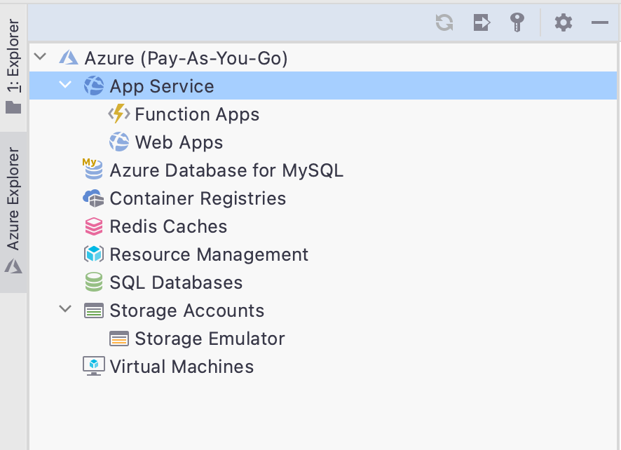 Showing the features inside Azure Toolkit for Rider