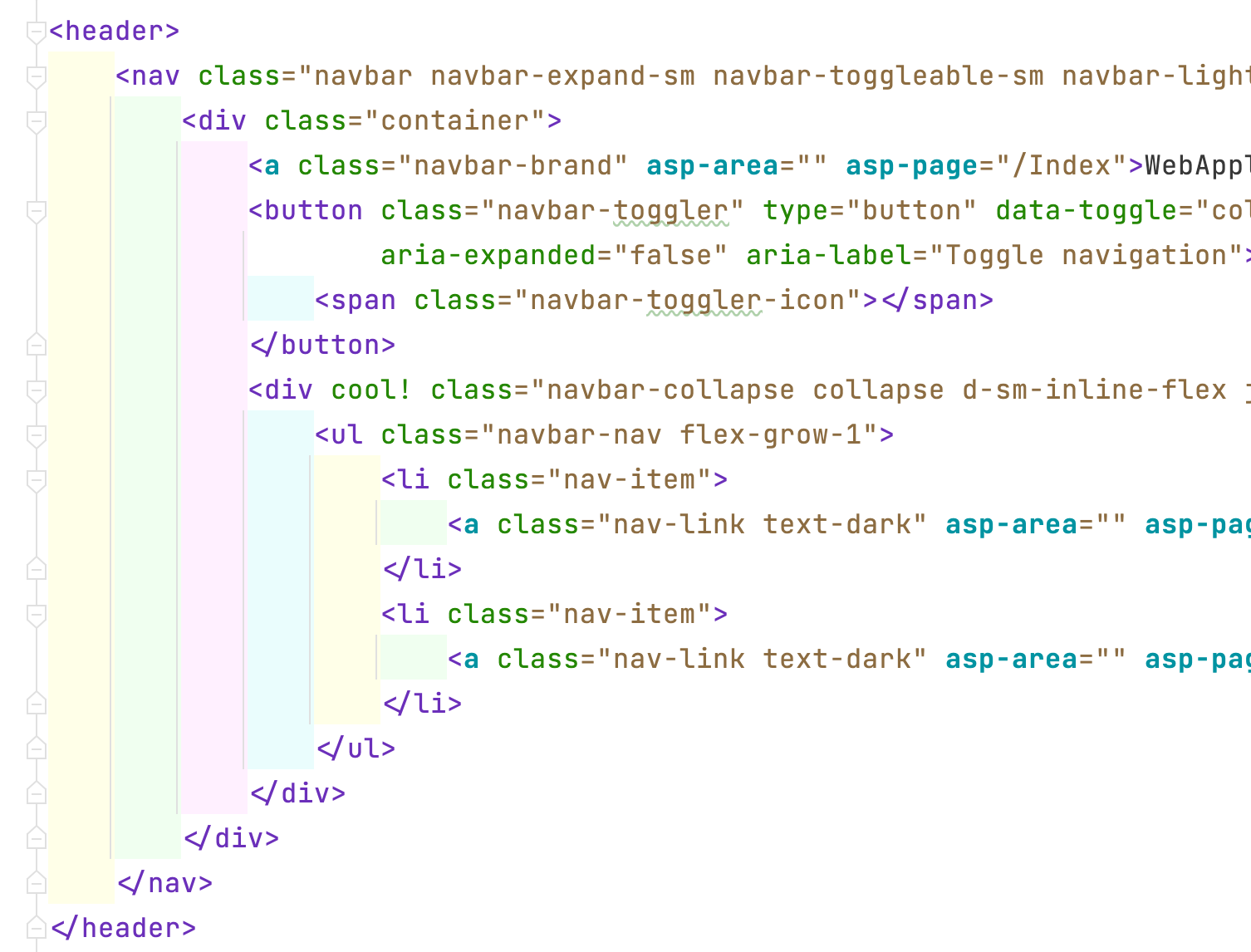 Indent Rainbow in Rider showing blocks of HTML.