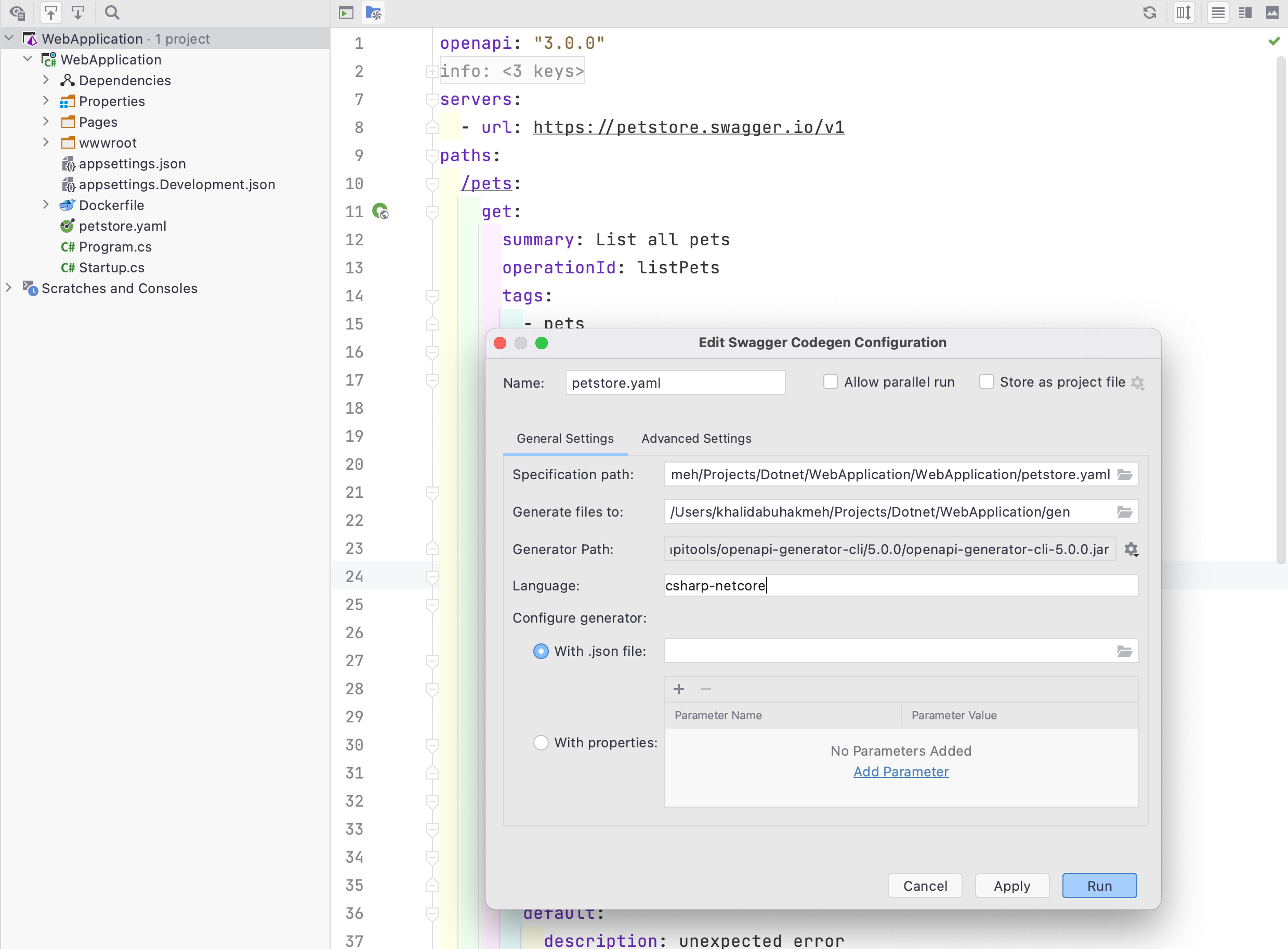 OpenAPI specification plugin with code generator settings open.