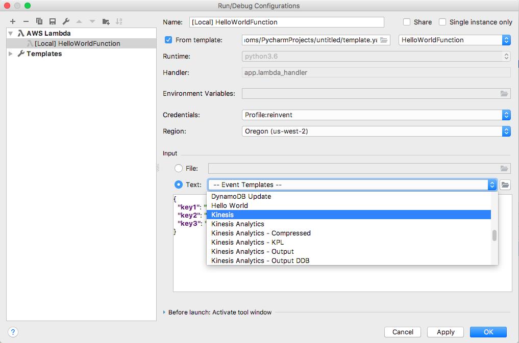 AWS Toolkit deploying a AWS Lambda function.