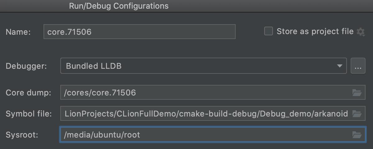 Core Dump configuration
