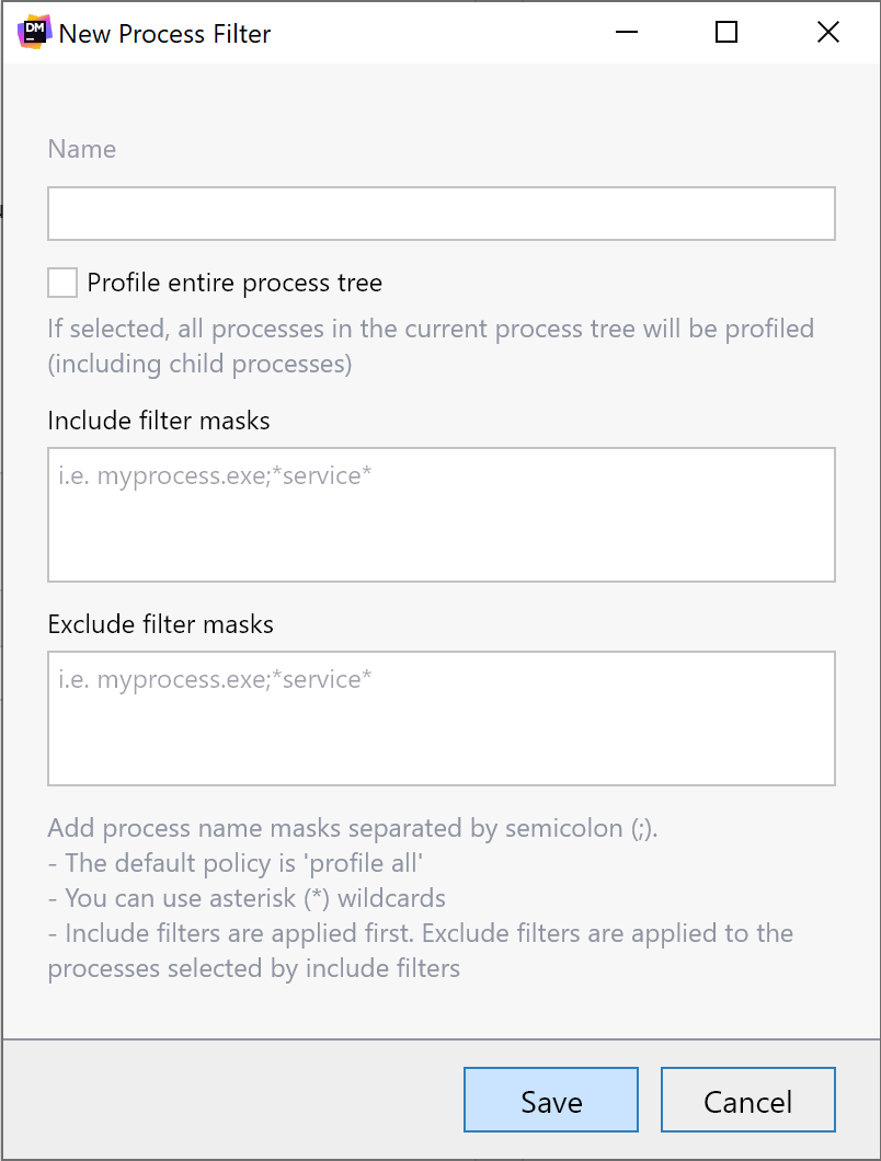 New process filter dialog for profiling sessions in dotMemory.