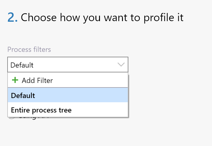 Existing profile process filters from profiling session